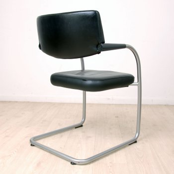 Superieur Vitra Visavis In Black Leather | Black Leather Meeting Chair | Cantilever  Chair
